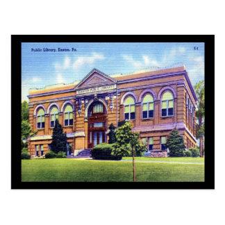 Biblioteca pública, Easton, vintage del PA Tarjeta Postal