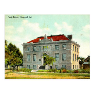Biblioteca pública, Hammond, vintage 1911 de Postal