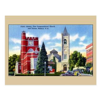 Biblioteca pública, iglesia, taberna, Nashua NH Postales