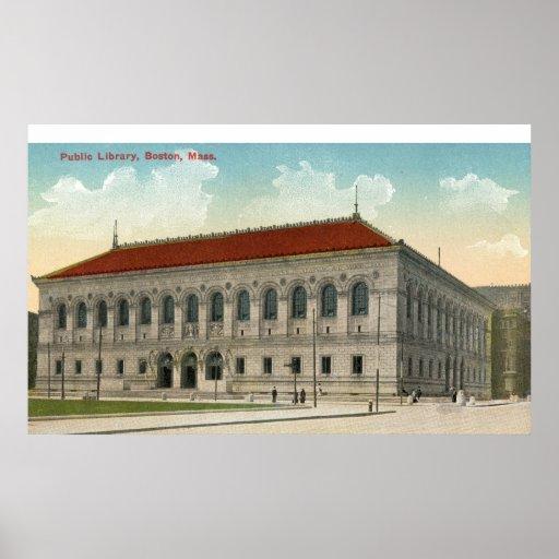 Biblioteca pública, vintage 1911 de Boston Póster