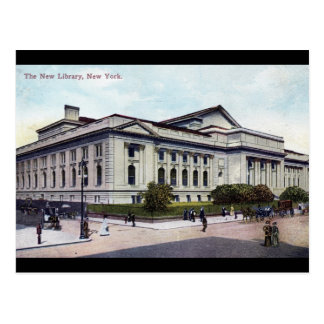 Biblioteca pública, vintage 1915 de New York City Tarjeta Postal