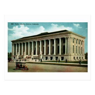 Biblioteca pública, vintage de Denver, Colorado Postal