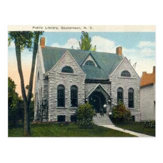 Biblioteca pública, vintage de los años 20 de postal