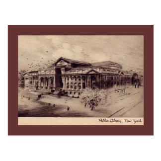Biblioteca pública, vintage de New York City Postales