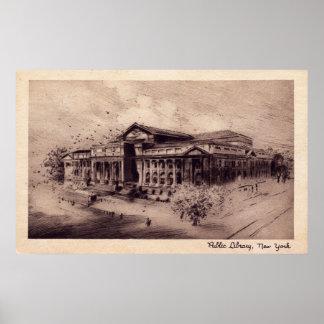 Biblioteca pública, vintage de New York City Póster