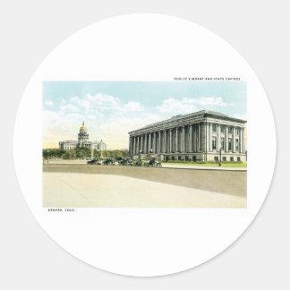Biblioteca pública y capitolio del estado, Denver, Pegatina Redonda