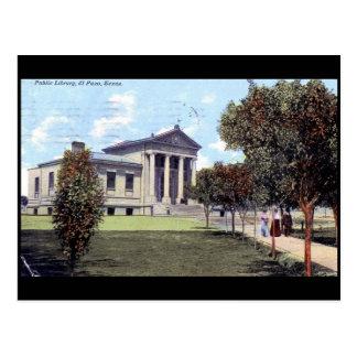 Biblioteca, vintage 1911 de El Paso, Tejas Postal