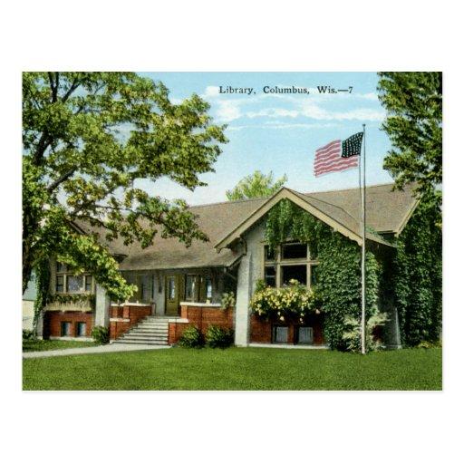 Biblioteca, vintage de Columbus, Wisconsin Tarjeta Postal