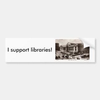 Biblioteca vintage de New York City c1910 Pegatina De Parachoque