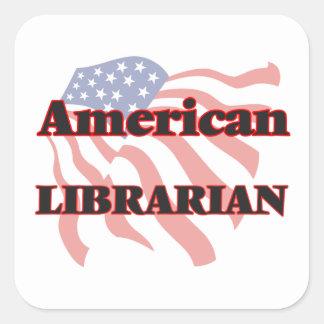 Bibliotecario americano pegatina cuadrada