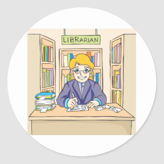 Bibliotecario amistoso etiqueta redonda