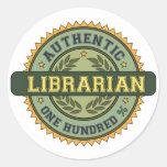Bibliotecario auténtico pegatinas redondas