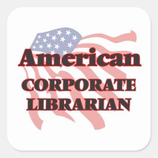 Bibliotecario corporativo americano pegatina cuadrada