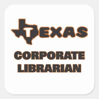 Bibliotecario corporativo de Tejas Pegatina Cuadrada