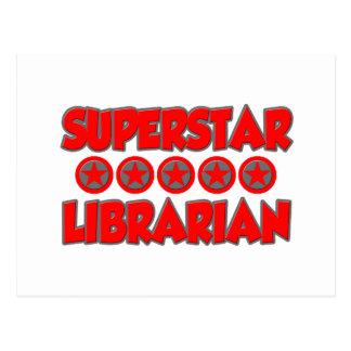 Bibliotecario de la superestrella postales