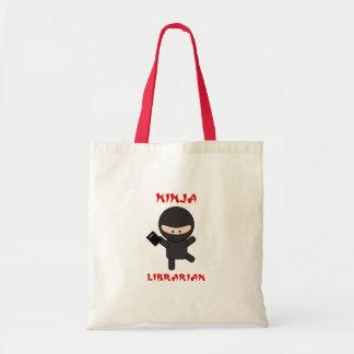 Bibliotecario de Ninja con el libro Bolsa Tela Barata