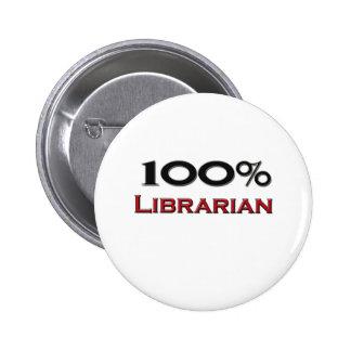 Bibliotecario del 100 por ciento pin redondo 5 cm