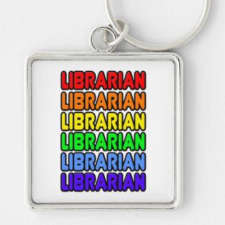 Bibliotecario del arco iris llavero cuadrado plateado