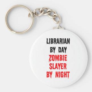 Bibliotecario del asesino del zombi del día por no llavero redondo tipo pin