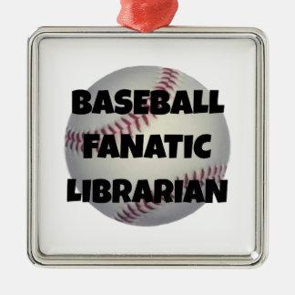 Bibliotecario del fanático del béisbol adorno navideño cuadrado de metal