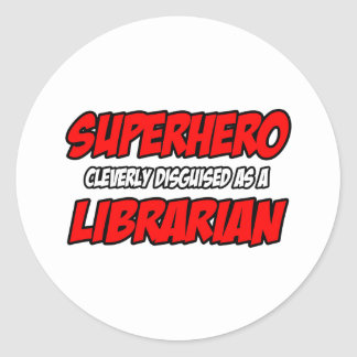 Bibliotecario del super héroe… pegatina redonda