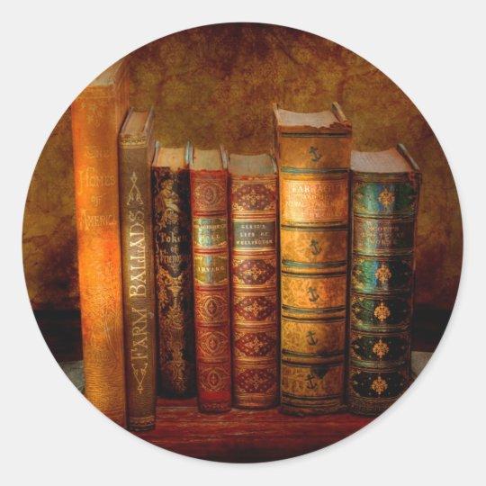 Bibliotecario - escritor - libros anticuarios pegatina redonda