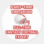 Bibliotecario. Experto del fútbol de la fantasía Pegatinas Redondas