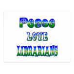 Bibliotecarios del amor de la paz tarjetas postales