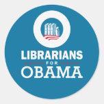 Bibliotecarios para Obama Pegatinas Redondas