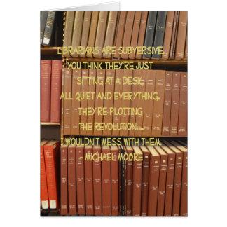Bibliotecarios subversivos tarjeta de felicitación