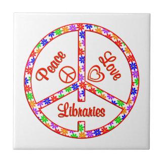 Bibliotecas del amor de la paz azulejo cuadrado pequeño