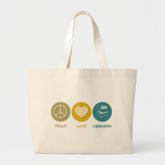 Bibliotecas del amor de la paz bolsa tela grande