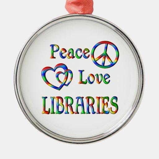 BIBLIOTECAS del amor de la paz Adorno Redondo Plateado