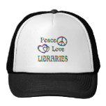 BIBLIOTECAS del amor de la paz Gorro De Camionero