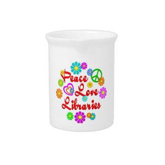 Bibliotecas del amor de la paz jarras