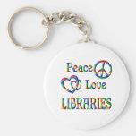 BIBLIOTECAS del amor de la paz Llavero Personalizado