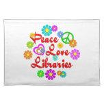 Bibliotecas del amor de la paz mantel individual