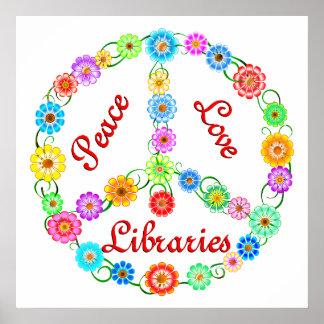 Bibliotecas del amor de la paz poster