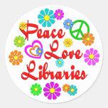 Bibliotecas del amor de la paz pegatinas redondas