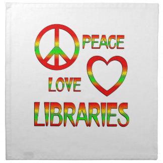 Bibliotecas del amor de la paz servilleta imprimida