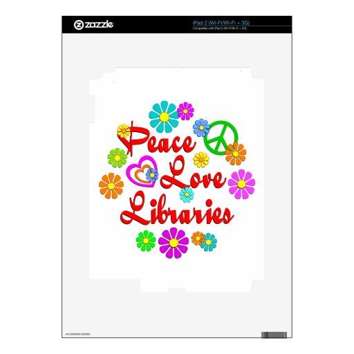 Bibliotecas del amor de la paz calcomanías para iPad 2
