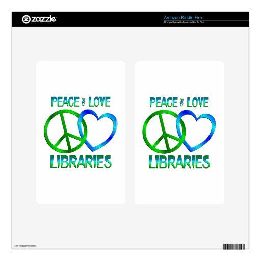 BIBLIOTECAS del amor de la paz Pegatina Skin Para Kindle Fire