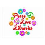 Bibliotecas del amor de la paz tarjeta postal