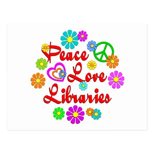 Bibliotecas del amor de la paz tarjetas postales