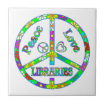 Bibliotecas del signo de la paz azulejo