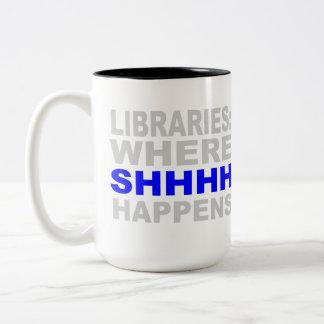 Bibliotecas en donde SHHH sucede el regalo del est Tazas