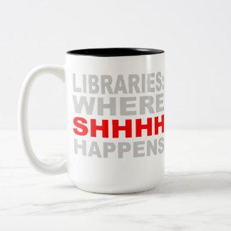 Bibliotecas en donde SHHH sucede el regalo del est Taza De Café