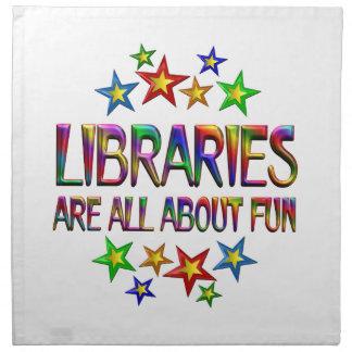 Bibliotecas sobre la diversión servilleta de papel