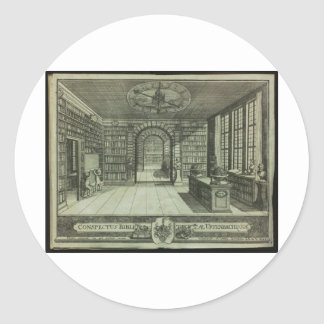 Bibliotha universalis round stickers