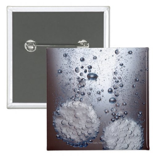 Bicarbonate of soda tablets in water 2 inch square button